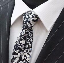 Tie Cravatta Slim Blu Scuro Con Bianco & Blu Floreale Cotone di alta qualità T6037