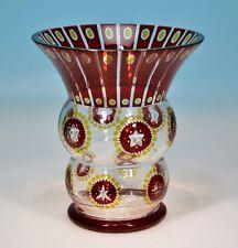 Art Deco Eggermanns Rotbeize Vase zweifarbig mit Stern Schliff - 130441 -