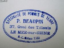 TAMPON ANCIEN POMMES DE TERRE P. BEAUPIN LE MEE (77)