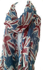 Union Jack London Souvenir UK Flag Print Fashion Maxi Scarf Sarong-Denim Blue/Rd