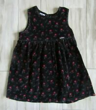 Vintage OshKosh Bgosh Girl's Black Floral Velour Jumper Dress Size 4T