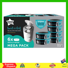 TOMMEE TIPPEE Twist and Click Nappy Disposal System Refill Cassettes (6 Pack) AU