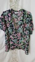 """""""Sag Harbor"""" X Large Women's Short Sleeve Button Front Semi Sheer Floral Blouse"""