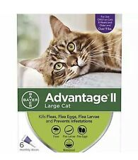 New listing Bayer Advantage Ii for Large Cats Over 9 lbs - 6 Pack - New Flea Treatment