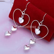 Fashion Women 925 Silver Plated Hearts Chain Dangle Earrings Ear Studs Jewelry