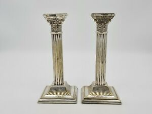 Victorian Pair Of Corinthian Silver Plated Candlesticks