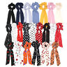 Womens Solid Floral Bow Scrunchie Hair Band Elastic Ties Rope Scarf Accessories
