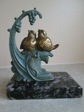 More details for art deco french  spelter - baby birds with berries - mounted on stone  c.1930