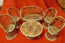Set of (6) Wicker Rattan Doll Furniture Couch, Table (4) High Back Chairs