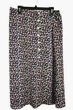 Good Luck Gem Womens Floral Midi Skirt Side Vent Stretch Waist Buttons XL