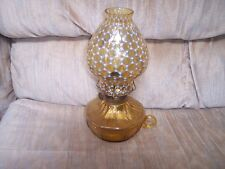 VINTAGE---OIL LAMP---Amber Coin Glass--Coin Dot Chimney--Courting Lamp--Fostoria