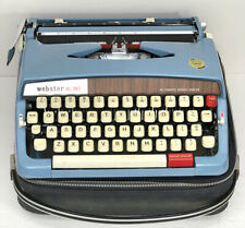 Vintage WEBSTER XL-747 BROTHER Portable Blue Typewriter With Case. Cleaned.