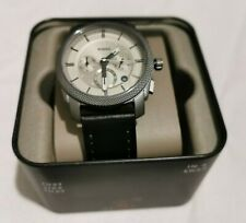 Fossil Machine Chronograph Black Leather Watch FS5482 NWT