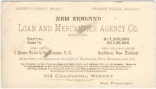 1880s-90s New Zealand Loan and Mercantile Agency San Francisco Office Card