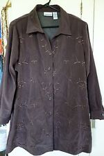 Womens All American Comfort Plus Sz 24W Brown Long Sleeve wFloral Stitch. Button