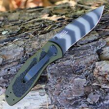 Couteau Kershaw Blur A/O Lame Acier 14C28N Tiger Manche Olive Alu USA KS1670OLTS