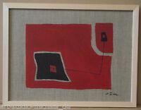 """Michael Feicht (geb. 1959):""""Komposition aus roten Farbflächen mit Lineament"""""""