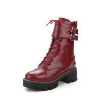 Women Chunky Heels Ankle Boots Platform Buckle Strap Lace Up Shoes Casual Ths01