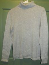 Laura Scott Women's Gray Metallic Long Sleeve Turtleneck Sweater Top - Size L