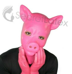 HOT PINK LATEX PIG MASK RUBBER HOOD FULL HEAD ZIP UNISEX TIGHT COSPLAY KINK TOY