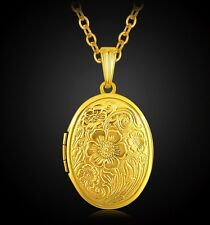 """18K Gold Plated Flower Oval Locket Pendant Necklace Photo 22"""" Link Chain"""