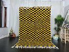 "Moroccan Beni Ourain Handmade Carpet 5'6""x7'9"" Berber Checkered Yellow Black Rug"