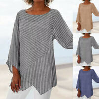 Women Plus Size Long Sleeve Linen Baggy Blouse Shirt Ladies Summer Tunic Tops US