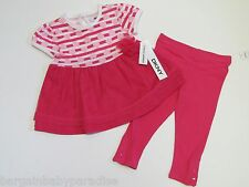 NWT DKNY 2 Pc Pink Hearts Tutu Dress Top & Leggings Baby Infant Girls 12 M $44