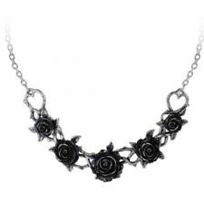 ALCHEMY ROSE BRIAR CHOKER NECKLACE Gothic Black Roses + FREE VELVET POUCH