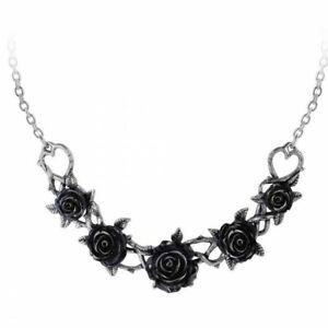 ALCHEMY ROSE BRIAR CHOKER NECKLACE Gothic Black Roses + FREE VELVET POUCH