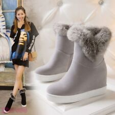 New Womens Hidden Wedge Heels Ankle Boots Winter Snow Boots Fur Trim Warm Casual