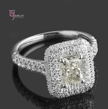 1.79 Carat VS1 Radiant Cut Diamond Engagement Double Halo Ring 18k White Gold