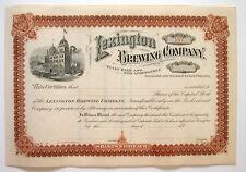 Lexington Brewing Co Beer Stock Certificate 1890's