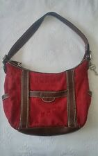 Fossil shoulder bag tote purse raspberry red euc