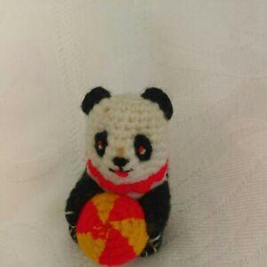 Vintage Amigurumi Miniature Crochet Lucky Panda 5cm