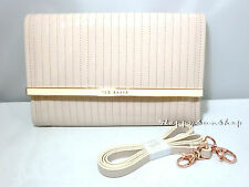 TED BAKER Enamel Quilted Crossbody Clutch Bag With Satchel Strap Nude Pink