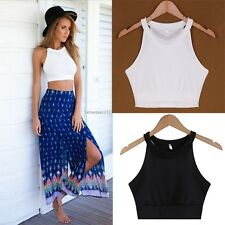 AU Boho Women Sleeveless Halter Tank Top Halter Neck Cami Crop Tops Vest Bustier