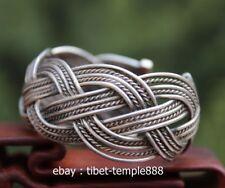 Chinese Miao Jewelry Silver Handwork knit Flexible Caliber bracelet chainbracele
