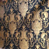 ARABESQUE GOTHIC BAROQUE UPHOLSTERY CHENILLE FABRIC BLACK GOLD JACQUARD DAMASK