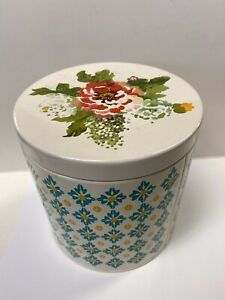 """The Pioneer Women Floral Storage Tin Round 6.25"""" Tall Kitchen Canister"""