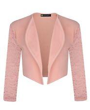 Girls Open Front Bolero Shrug Kids Long Lace Sleeve Cardigan Jacket Top