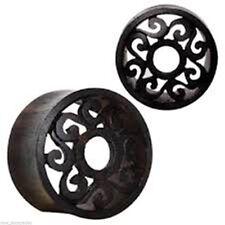 "PAIR-Wood Sono Tribal Motif Cut Double Flare Tunnels 25mm/1"" Gauge Body Jewelry"