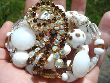 BEAU LOT DE 3 BIJOUX ANCIENS/COLLIER MURANO/BROCHE STRASS/BO CLIPS
