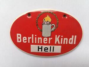 Altes Original Emailschild Berliner Kindl Hell, Zapfhahnschild, Bier, Brauerei