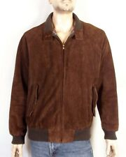 vtg 70s Abercrombie & Fitch Men's Brown Leather Jacket Bomber Plaid Flannel M