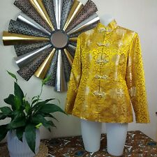 Size Small Mustard Yellow Asian Artisan Crafted Jacket  Authentic Pattern