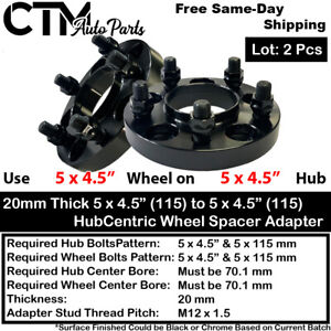 """2P 20mm THICK 5X4.5""""(115) 70 HUBCENTRIC WHEEL SPACER ADAPTER FIT NSX S2000 MORE"""