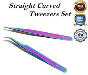 Individual Eyelash Extension Volume Lash Fanning Tweezers Straight Curved UK