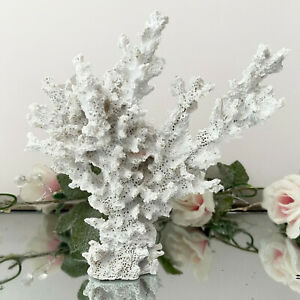 White Resin Faux Lace Coral Sculpture Painted Home Bathroom Sea Coast Decor 18cm