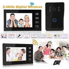 """2.4G 7"""" Wireless Video Door Phone Doorbell Intercom 1 IR Camera 2 Monitors US"""